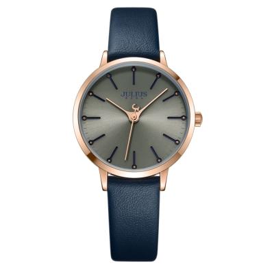 JULIUS聚利時 迷戀的精彩圓珠刻度皮錶帶腕錶-深藍/33mm