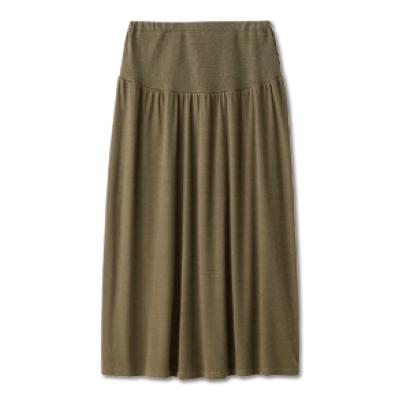 日本Akasugu-簡約素色孕婦長裙-卡其-黑