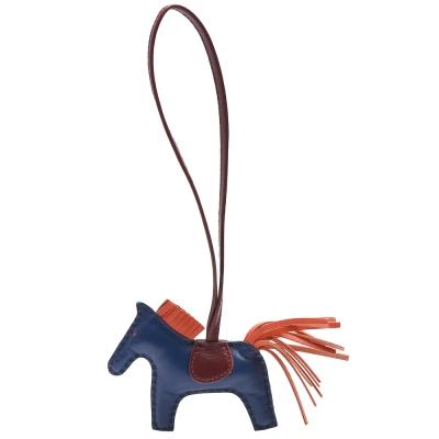 HERMES RODEO PM馬兒造型小羊皮鑰匙圈/吊飾(迷你-海軍藍X橘)