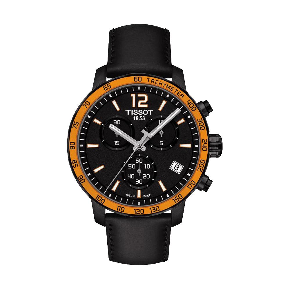 TISSOT T-Sport Quickster 競速運動計時腕錶-黑x橘框/42mm