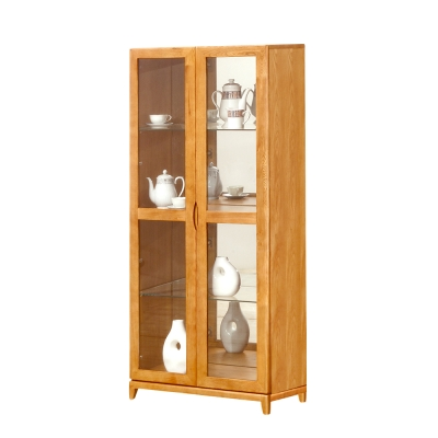 Bernice-布朗2.7尺實木玻璃門展示櫃/收納櫃-80x42x185cm