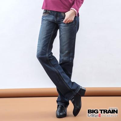 BIG TRAIN 女款 低腰翅膀繡花垮褲-中藍