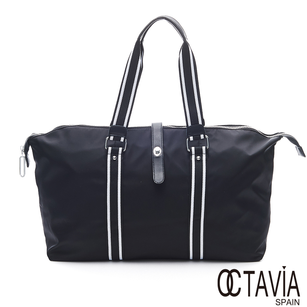 OCTAVIA 8移動城堡II黑白織帶四方可調式尼龍旅行肩背包-走走黑