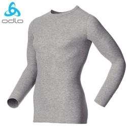 【瑞士 ODLO】WARM EFFECT 男專業機能型銀離子圓領保暖內衣/深麻灰