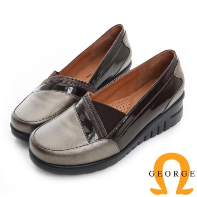 GEORGE 喬治-超輕量拼接真皮厚底楔型休閒鞋-古銅色