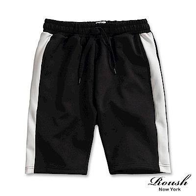 Roush 側邊配色復古運動短棉褲(2色)