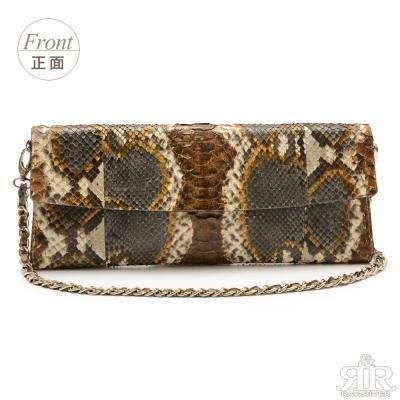 2R 珍稀蟒蛇皮-限量訂製Fold長對摺晚宴包 時尚彩咖