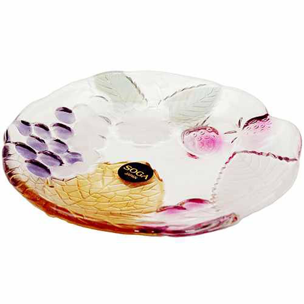 日本SOGA玻璃彩色葡萄小盤(A1579S)