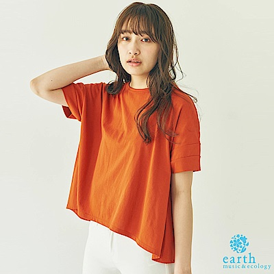 earth music 簡約素面圓領T恤