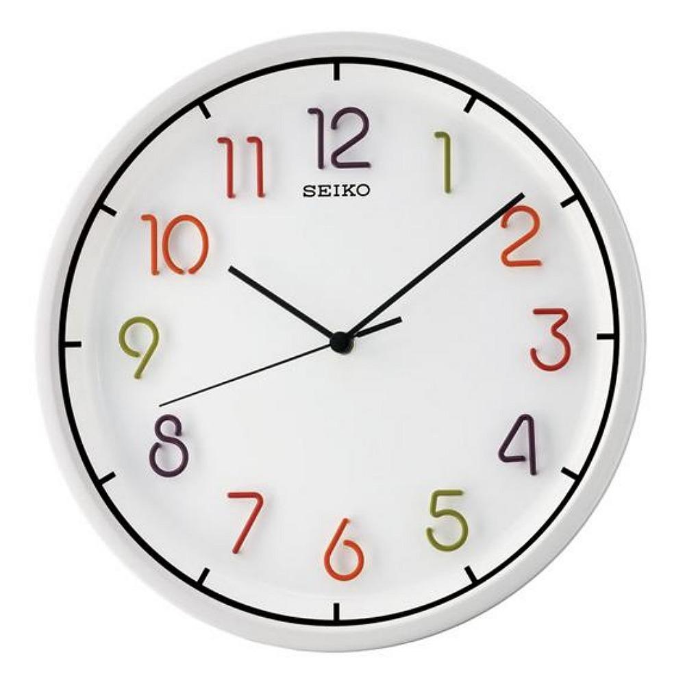 SEIKO 精工 立體彩色數字 恒動式秒針掛鐘-白/31.8cm