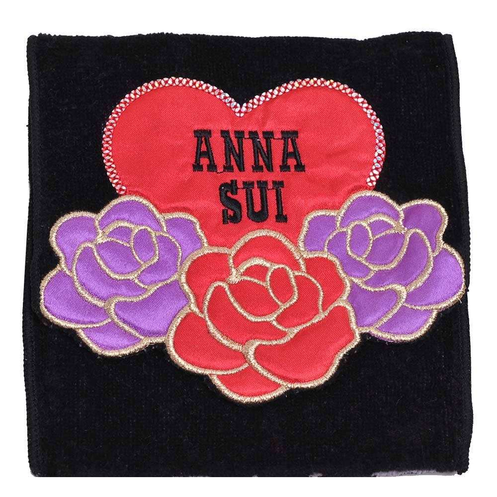 ANNA SUI 優美玫瑰愛心字母刺繡圖騰機能方巾袋(黑)
