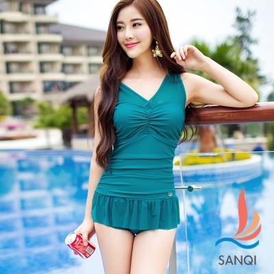 SANQI三奇 陽光元氣 二件式連身泳裝(綠M~XL)