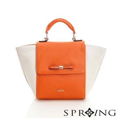 SPRING-翻蓋蝴蝶結手提包-橘