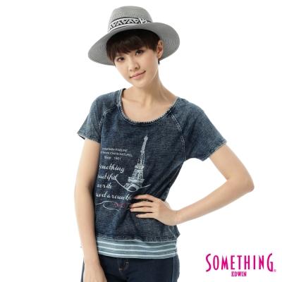 SOMETHING-2件式俏麗T恤-女-拔淺藍