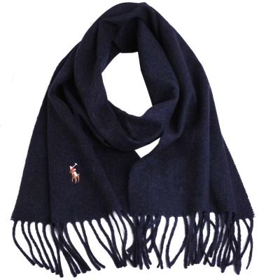 RALPH LAUREN POLO 彩色小馬刺繡LOGO素面義大利製羊毛圍巾(深藍灰)