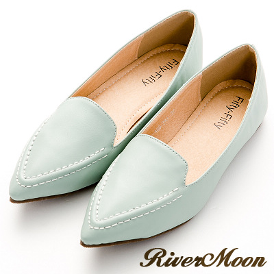 River&Moon尖頭鞋-極簡素面縫線樂福平底鞋-綠系