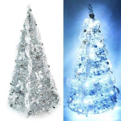 6尺(180cm) 浪漫彈簧摺疊聖誕樹(雙銀色系)(內含一LED100燈串)