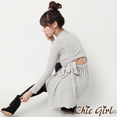 正韓 性感露腰蝴蝶結綁帶連身裙 (共三色)-Chic Girl