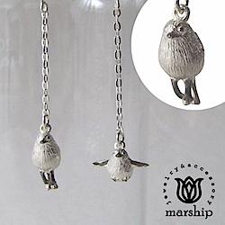 Marship 日本銀飾品牌 雪精靈耳環 925純銀 銀喉雀鳥亮銀款 夾式耳環