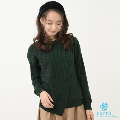 earth music 不對稱剪裁麻花辮針織上衣