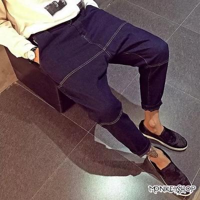 Monkey Shop  白色橫條車線寬鬆版型哈倫牛仔褲老爺褲