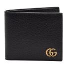 GUCCI 經典GG Marmont系列金屬GG LOGO牛皮折疊短夾(黑-8卡)