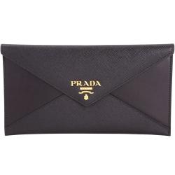 PRADA Envelope 拼接信封設計釦式長夾/手拿包(黑色)