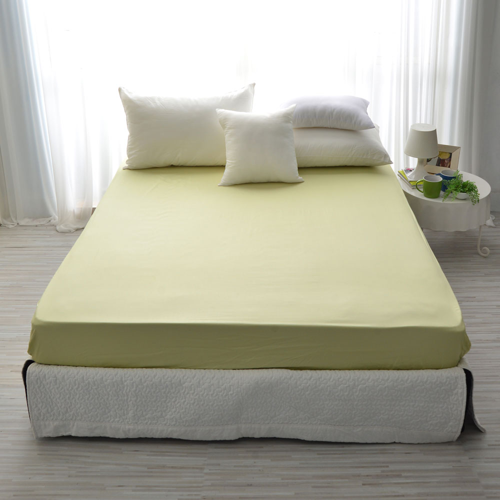 IN HOUSE-精梳棉-雙人素色床包-青草綠