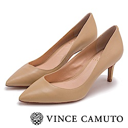 Vince Camuto 都會風尚 原色尖頭曲線高跟鞋-米色
