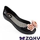 Zaxy 巴西 童花漾朵朵休閒娃娃鞋-黑色/粉色
