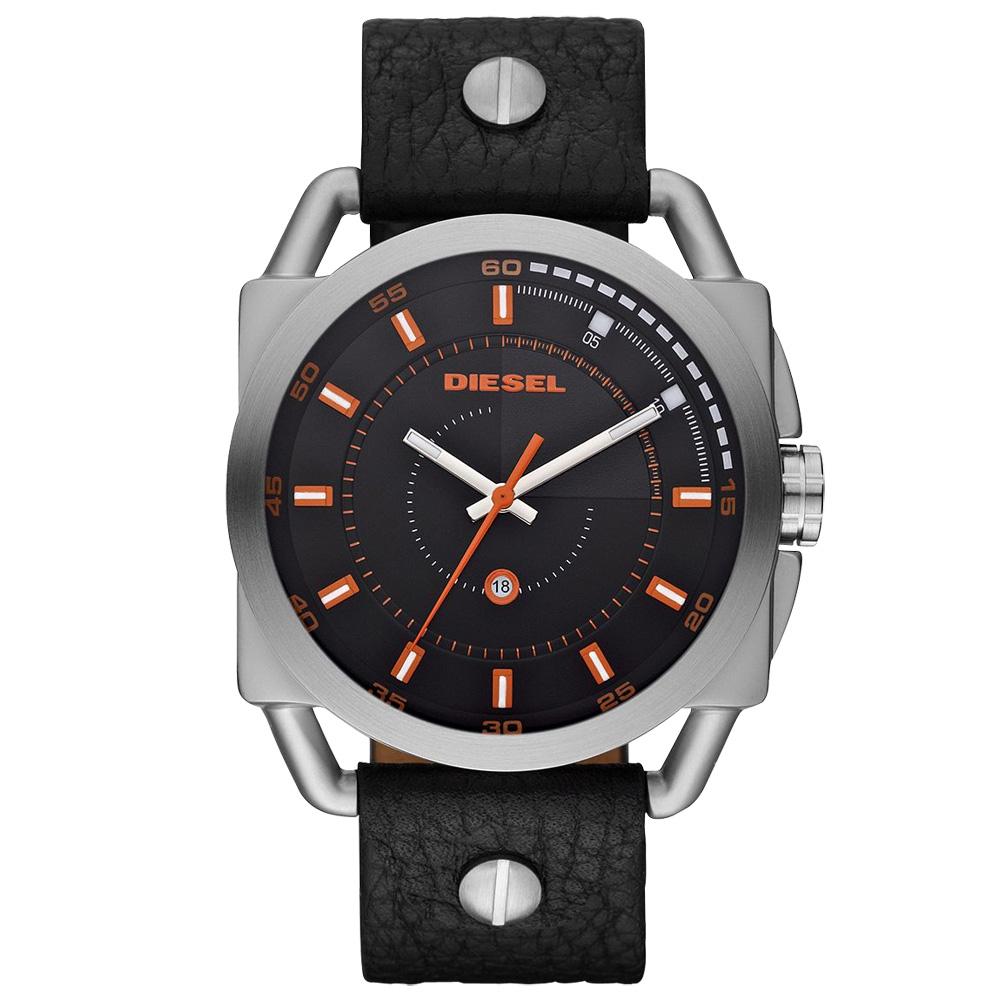 DIESEL 魅力概念都會時尚腕錶-皮帶-橘黑/46mm