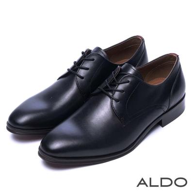 ALDO-原色幾何雙車線綁帶真皮男鞋-尊爵黑色