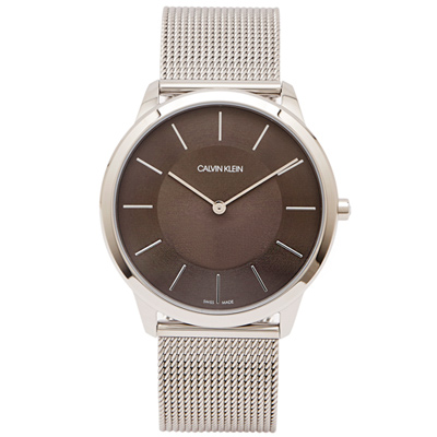 CK Calvin Klein 時髦風銀色米蘭帶手錶(K3M2T124)-黑灰面/43mm