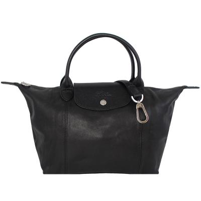 Longchamp Le pliage Cuir羊皮短帶水餃包/斜背包(黑色/小)