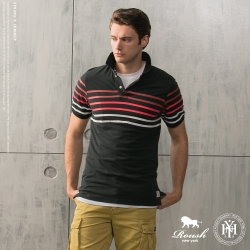 ROUSH 彩條橫紋短袖polo衫 (4色)