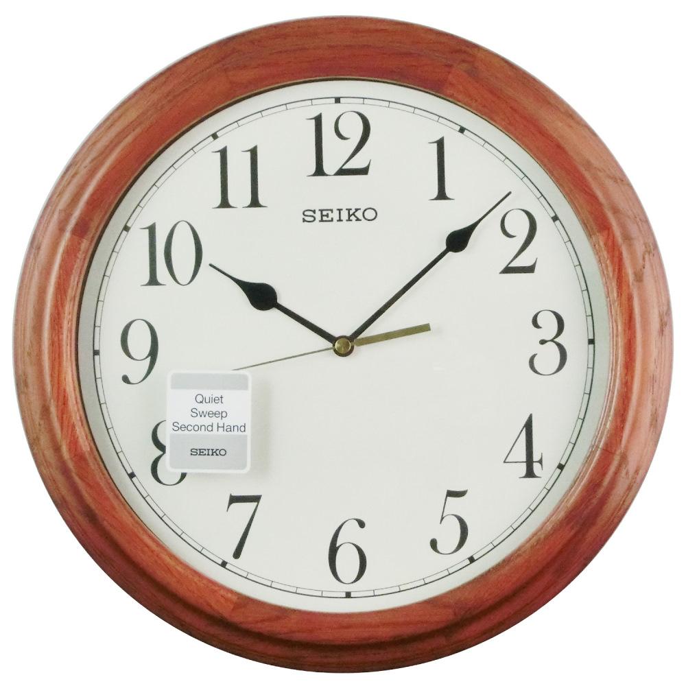 SEIKO 精工木紋外框滑動式秒針掛鐘時鐘-白/33cm