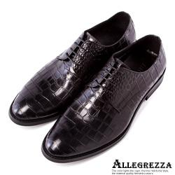 ALLEGREZZA.真皮鱷魚壓紋皮鞋-黑