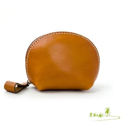 手感的秀-植鞣革海洋風貝殼零錢包-亮黃褐