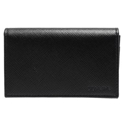 PRADA Saffiano經典LOGO壓印防刮牛皮釦式信用卡/名片夾(黑)