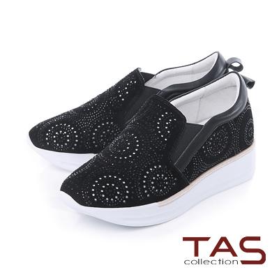 TAS 鏤空幾何圓圈水鑽內增高運動休閒鞋-個性黑