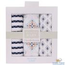 Luvable Friends 藍橘幾何圖騰款包巾3件彌月禮盒組
