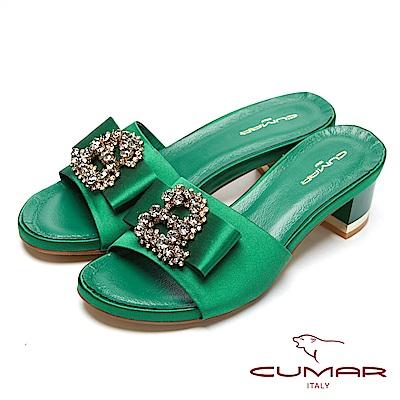 CUMAR經典時尚-寳石水鑽裝飾粗跟涼鞋-綠色