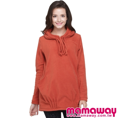 Mamaway-搖粒絨造型拉繩長版孕哺上衣-共三色