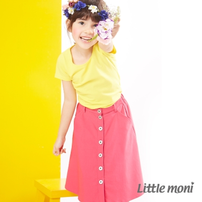 Little moni 美式街頭個性牛仔長裙 熱情粉