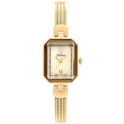 JULIUS聚利時左岸呢喃貝殼面鍊飾腕錶-金色20x26mm