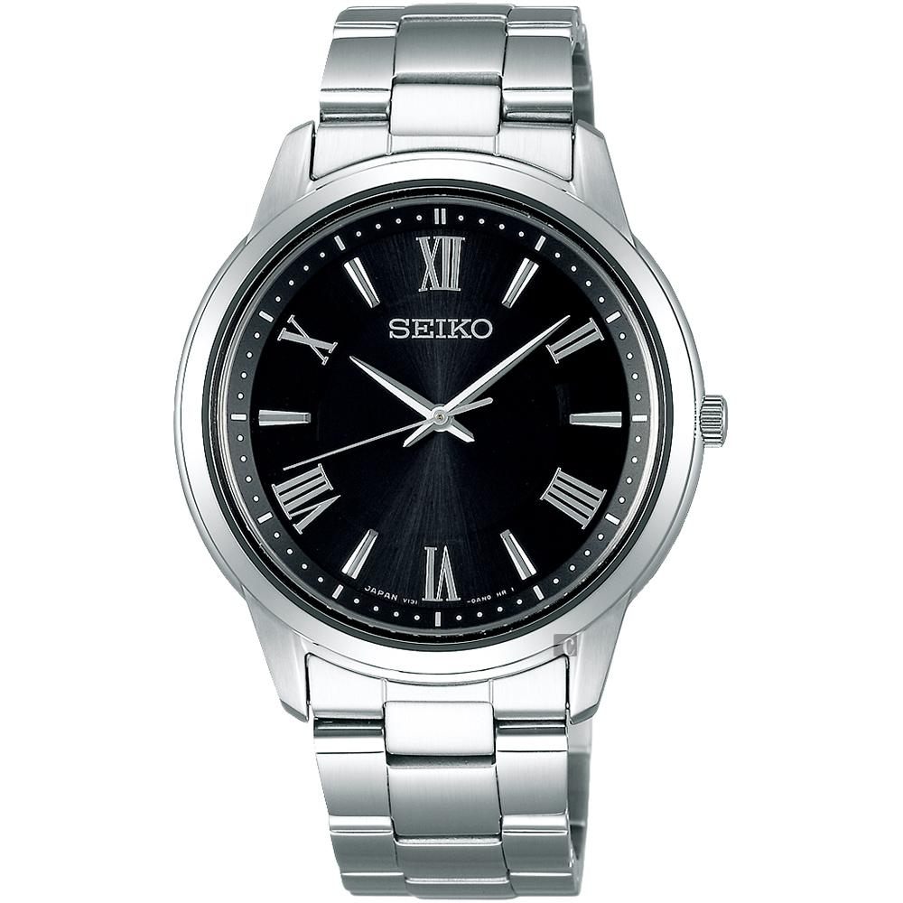 SEIKO精工SPIRIT 太陽能日系時尚手錶(SBPL011J)-黑x銀/38.8mm