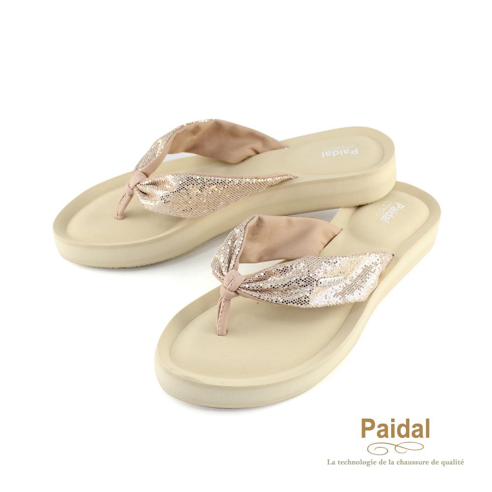 Paidal 氣質綁帶亮蔥款厚底夾腳拖鞋涼鞋-金
