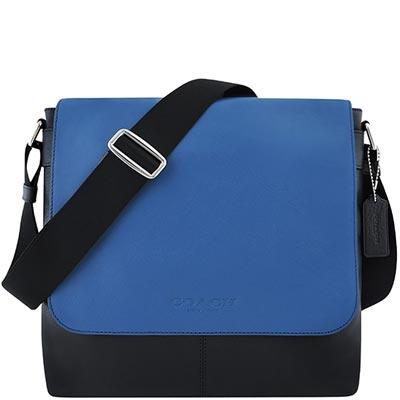 COACH-藍色皮革壓紋斜背包