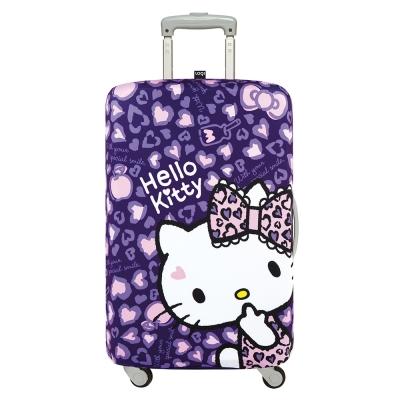 LOQI 行李箱套 - KITTY豹紋紫L號 (適用28吋以上行李箱)