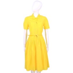 Max Mara 黃色襯衫式短袖洋裝(附腰帶)